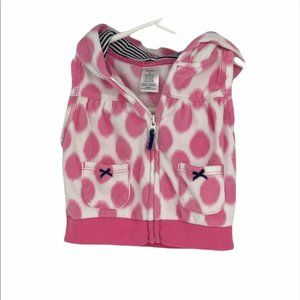 Carter's baby pink polka dotted sweater vest hood